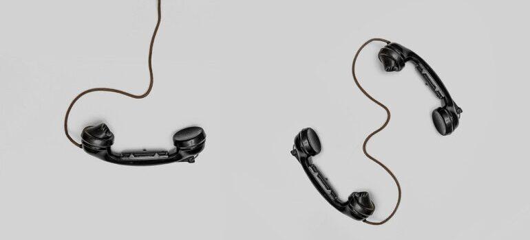 Three retro phones.