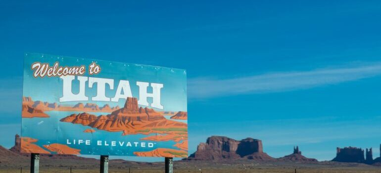 A poster saying 'welcome to Utah'