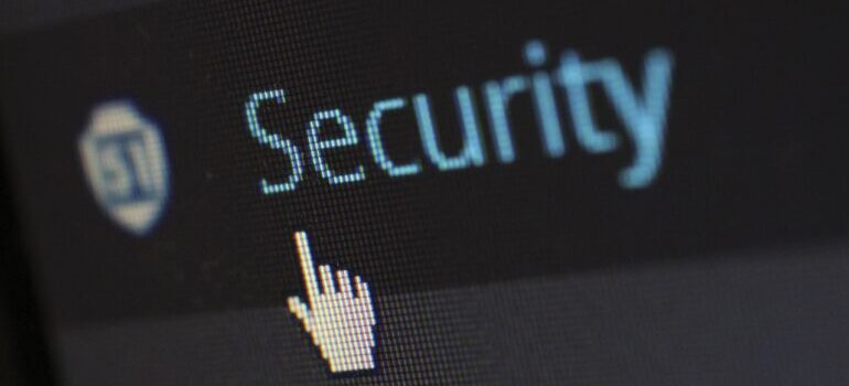 """Close-up photo of mouse cursor over """"security"""" button"""