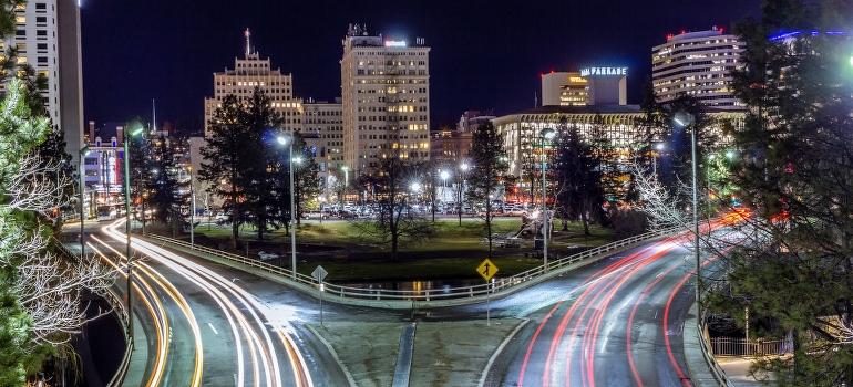 Spokane night panorama