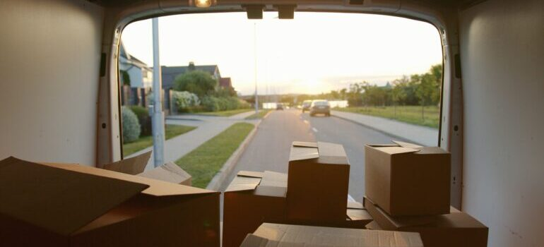 Opened van with boxes