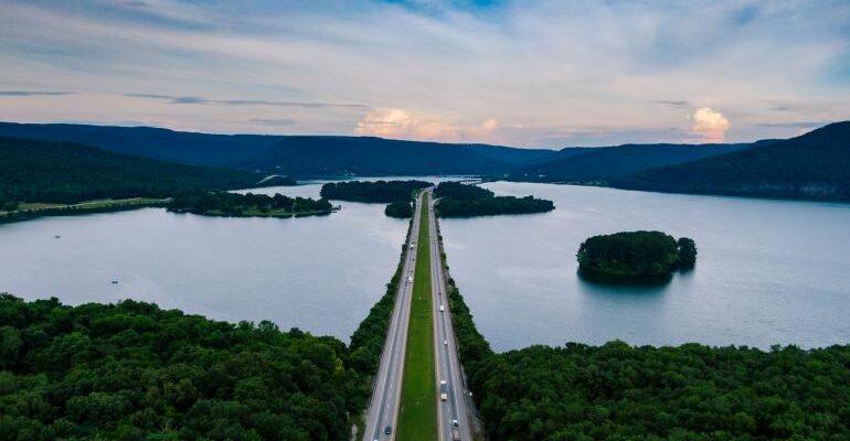 Aerial view of highway.