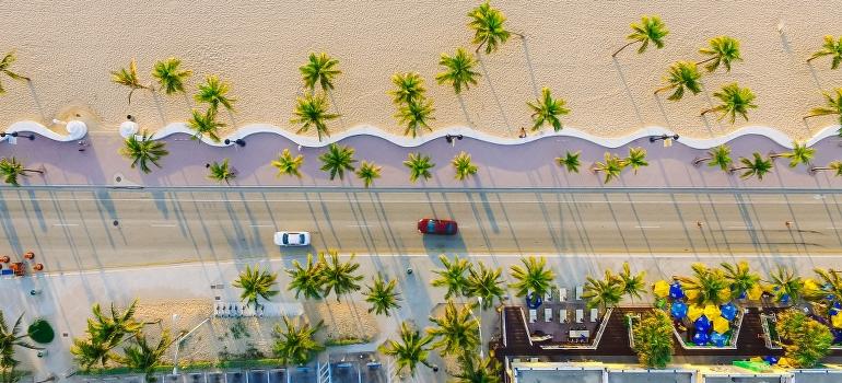 street in Miami bird view