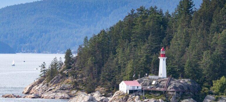 A lighthouse on the rocks somewhere in Alaska.