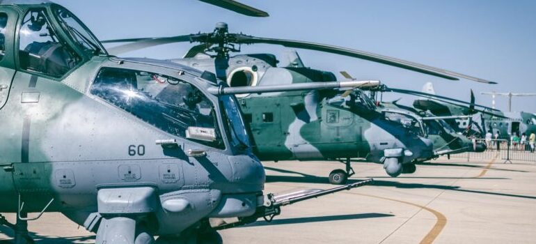choppers in an air force base