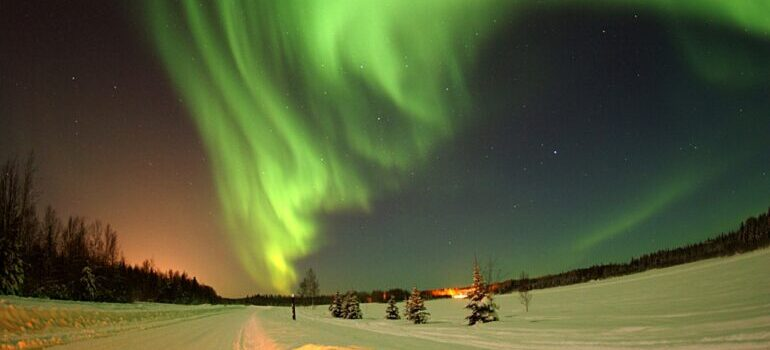 A view of Northern Lights somewhere in Alaska.