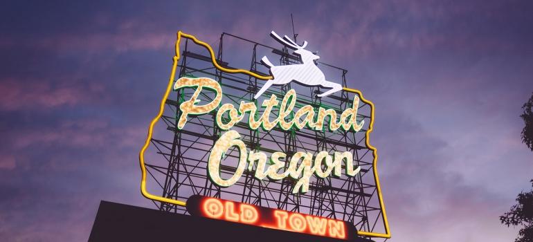A sign saying Portland Oregon