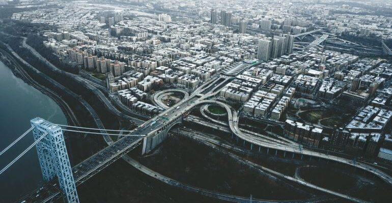 Aerial view of a bridge and city.