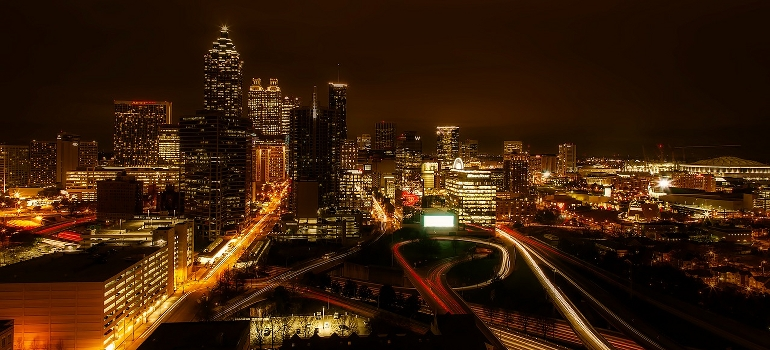 Atlanta city at night -  a place where best cross country movers Georgia operate
