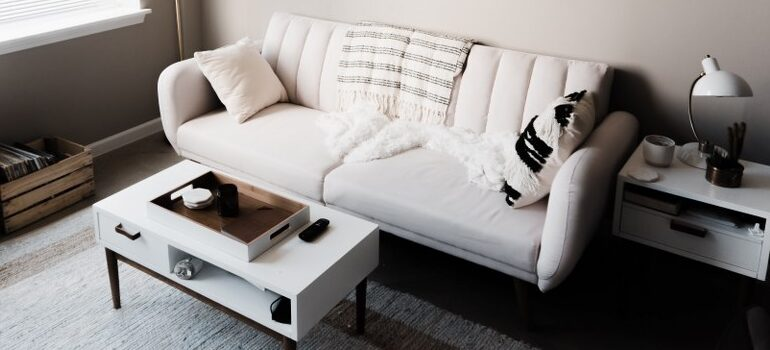 white and black styled living room