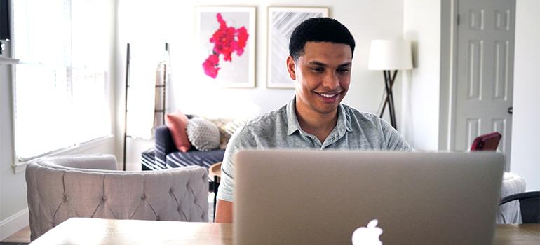 a man using laptop