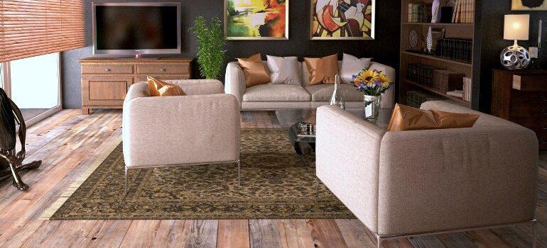 a cozy living room, with exterior light