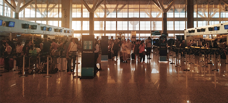 crowded airport terminal