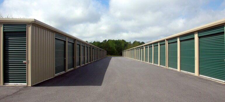 Storage unit with green doors.