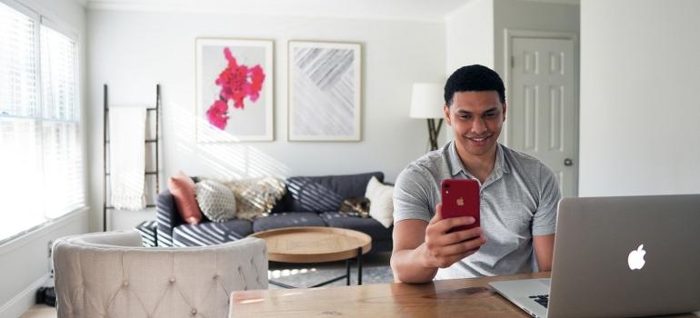 a man using phone
