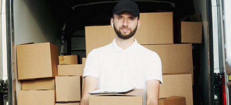 a mover, unloading a van