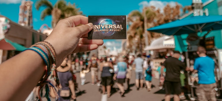 a card with universal studios logo