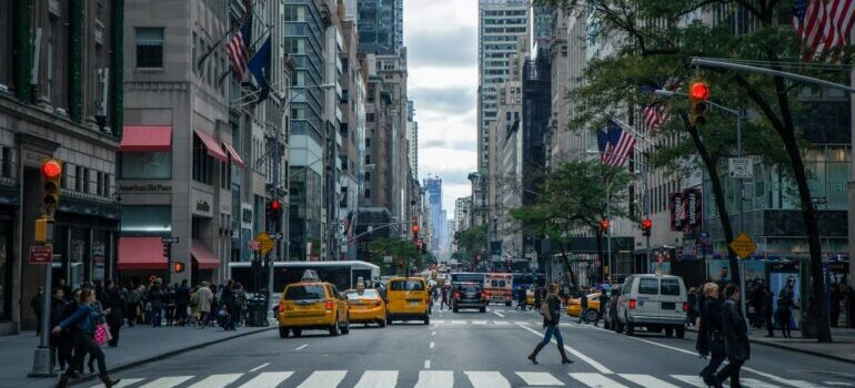 Busy streets in New York City.