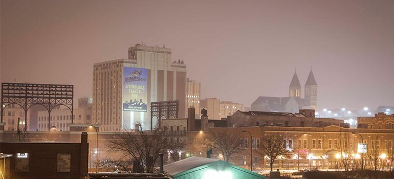 Akron at night